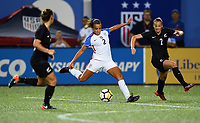 Cincinnati, OH - Tuesday September 19, 2017: Mallory Pugh, Ria Percival during an International friendly match between the women's National teams of the United States (USA) and New Zealand (NZL) at Nippert Stadium.