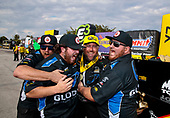 Shawn Langdon, Global Electronic Technology, funny car, Camry, victory, celebration, trophy, crew