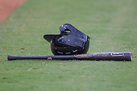 Baseball bat and helmet on June 22, 2014 at the Dell Diamond in Round Rock, Texas. (Andrew Woolley/Four Seam Images)