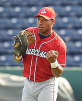 Infielder Jonathan Singleton (29) of the Lakewood BlueClaws, Class A affiliate of the Philadelphia Phillies, in a game against the Greenville Drive on May 13, 2010, at Fluor Field at the West End in Greenville, S.C. Photo by: Tom Priddy/Four Seam Images