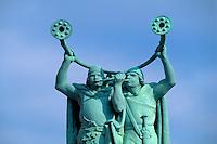 Daenemark, Lurenbläserdenkmal auf dem Rathausplatz in Kopenhagen