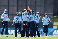 23rd February 2021, Christchurch, New Zealand;  Tash Farrant of England celebrates the wicket of Amy Satterthwaite with teammates  of New Zealand  during the 1st ODI Cricket match, New Zealand versus England, Hagley Oval, Christchurch, New Zealand