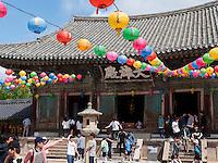 Schmuck zu Buddha's Geburtstag im buddhistischen Tempel Bulguksa, Gyeongju, Provinz Gyeongsangbuk-do, Südkorea, Asien, UNESCO-Weltkulturerbe<br /> Decoration at Buddha's Birthday,  buddhist temple Bulguksa, Gyeongju,  province Gyeongsangbuk-do, South Korea, Asia, UNESCO world-heritage