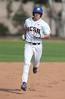 Cameron Newell (12) of the UC Santa Barbara Gauchos runs the bases during a game against the Kentucky Wildcats at Caesar Uyesaka Stadium on March 20, 2015 in Santa Barbara, California. UC Santa Barbara defeated Kentucky, 10-3. (Larry Goren/Four Seam Images)