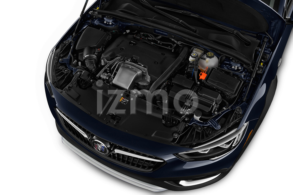 Car stock 2018 Buick Regal TourX Essence AWD 5 Door Wagon engine high angle detail view