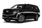 Stock pictures of low aggressive front three quarter view of 2021 Cadillac Escalade-ESV Sport 5 Door SUV Low Aggressive