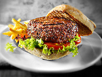 Peppered beef burger with chips and wholemeal bun