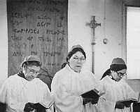 Members of the choir at Fort George; Quebec; will lose their priest on July 1 and the Anglican diocese of Moosonee has no replacement because of a shortage of priests. The loss is an additional blow to the 1;500 parishioners whose way of life is already threatened by the James Bay hydro-electric project.<br /> <br /> 1974<br /> <br /> PHOTO :  Bob Olsen - Toronto Star Archives - AQP