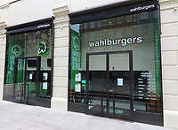 Hollywood actor Mark Wahlberg's only restaurant franchise in Europe has closed. <br /> The first Wahlburgers restaurant to open in the UK, in London's Covent Garden, has closed permanently, just one year after a glitzy VIP opening, due to the Covid-19 outbreak. London July 3rd 2020<br /> <br /> Photo by Keith Mayhew