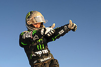 Apr 17, 2011; Surprise, AZ USA; LOORRS driver Jeremy McGrath celebrates after finishing second during round 4 at Speedworld Off Road Park. Mandatory Credit: Mark J. Rebilas-