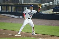Kannapolis Cannon Ballers first baseman Sam Abbott (24) on defense against the Down East Wood Ducks at Atrium Health Ballpark on May 4, 20121in Kannapolis, North Carolina. (Brian Westerholt/Four Seam Images)