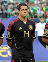 Mexico's Javier Hernandez waits for the Mexican National Anthem.  Mexico defeated Costa Rica 4-1 at the 2011 CONCACAF Gold Cup at Soldier Field in Chicago, IL on June 12, 2011.