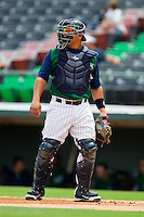Charlotte Knights catcher Miguel Gonzalez (27) on defense against the Durham Bulls at Knights Stadium on August 18, 2013 in Fort Mill, South Carolina.  The Bulls defeated the Knights 8-5 in Game One of a double-header.  (Brian Westerholt/Four Seam Images)