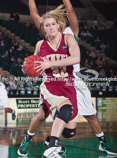 Denver Pioneer Women guard Morgan Shell (22) in action during the game between the Denver Pioneer Women and the University of North Texas Mean Green at the North Texas Coliseum,the Super Pit, in Denton, Texas. Denver defeats UNT 50 to 44...