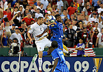 08 July 09: The US and Honduras fighting for a header during their match at the CONCACAF Gold Cup at RFK Stadium in Washington, DC.