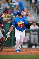 Buffalo Bisons first baseman Rowdy Tellez (21) flies out during a game against the Gwinnett Braves on August 19, 2017 at Coca-Cola Field in Buffalo, New York.  The Bisons wore special Superhero jerseys for Superhero Night.  Gwinnett defeated Buffalo 1-0.  (Mike Janes/Four Seam Images)