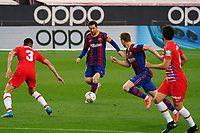 29th April 2021; Camp Nou, Barcelona, Catalonia, Spain; La Liga Football, Barcelona versus Granada; Leo Messi of  Barcelona looks to thread a ball forward past Pérez of Granada