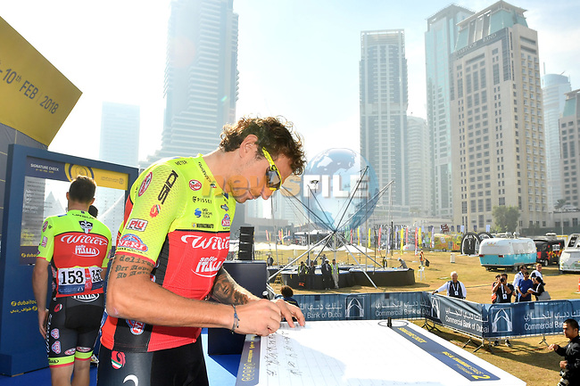"""Filippo """"Pippo"""" Pozzato (ITA) Wilier Triestina–Selle Italia at sign on before the start of Stage 2 The  Ras Al Khaimah Stage of the Dubai Tour 2018 the Dubai Tour's 5th edition, running 190km from Skydive Dubai to Ras Al Khaimah, Dubai, United Arab Emirates. 7th February 2018.<br /> Picture: LaPresse/Massimo Paolone 