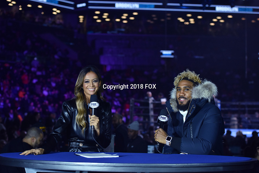 """BROOKLYN, NY - DECEMBER 22: Sportscaster Kate Abdo interviews professional boxer Jarrett Hurd as they attend the Fox Sports and Premier Boxing Champions  December 22 """"PBC on Fox"""" Fight Night at the Barclays Center on December 22, 2018 in Brooklyn, New York. (Photo by Anthony Behar/Fox Sports/PictureGroup)"""