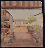 BNPS.co.uk (01202) 558833<br /> Pic: Woolley&Wallis/BNPS<br /> <br /> Isobel Grist's sketches of the Changi Camp<br /> <br /> Paintings secretly produced by a British woman inside a hellish Japanese prisoner of war camp using brushes made from human hair have come to light.<br /> <br /> Isobel Grist depicted scenes of camp life while she and her husband Donald spent three years imprisoned at the notorious Changi PoW camp in Singapore.<br /> <br /> The talented artist had grabbed her paints just as the couple were marched off to the camp following the fall of Singapore in 1942.