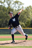 Pitcher Ethan Carnes (55) of the New York Yankees organization during a minor league spring training game against the Pittsburgh Pirates on March 22, 2014 at Pirate City in Bradenton, Florida.  (Mike Janes/Four Seam Images)