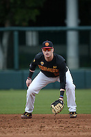 Austin Russ #16 of the Southern California Trojans in the field at first base during a game against the Coppin State Eagles at Dedeaux Field on February 18, 2017 in Los Angeles, California. Southern California defeated Coppin State, 22-2. (Larry Goren/Four Seam Images)