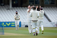 All smiles as Rikki Clarke, Surrey CCC makes the breaksthrough in the Hants second innings during Surrey CCC vs Hampshire CCC, LV Insurance County Championship Group 2 Cricket at the Kia Oval on 1st May 2021