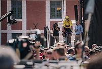 yellow jersey / GC leader Greg Van Avermaet (BEL/BMC) coming off the sign-on podium<br /> <br /> Stage 9: Arras Citadelle > Roubaix (154km)<br /> <br /> 105th Tour de France 2018<br /> ©kramon