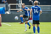SAN JOSE, CA - APRIL 24: Tommy Thompson #22 of the San Jose Earthquakes leaps to control the ball during a game between FC Dallas and San Jose Earthquakes at PayPal Park on April 24, 2021 in San Jose, California.