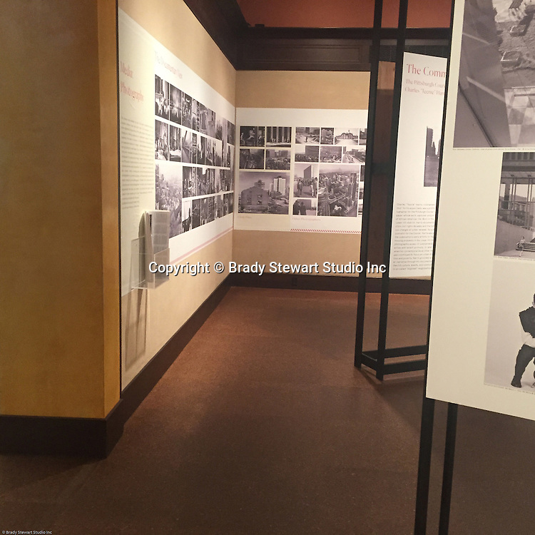 Pittsburgh PA:  View of the architectural view area of the Imaging for Modern exhibition inside the Carnegie Museum of Art. The museum selected over 40 photographs out of the 300 submitted for the exhibition.  Photographs from the Brady Stewart Studio Archives were used in the exhibition about Pittsburgh's architectural evolution 1945-1970.<br /> The images were selected by the consultant's Over Under due to the quality and the unique city views.  From 1945 to 1970 Brady Stewart Studio was the largest commercial photography studio in western Pennsylvania.<br /> The Exhibition runs from September 1915 thru May 2016.  Press release can be found at the following internet address; http://press.cmoa.org/2015/05/27/hac-lab-pittsburgh/.
