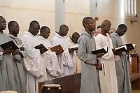 SENEGAL, Benedictine monastery Keur Moussa, monks recite Gregorian chants during the mass / Senegal, Benediktinerkloster Keur Moussa, Gottesdienst, gregorianische Gesänge
