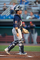 Connecticut Tigers catcher Elys Escobar (21) during a game against the Auburn Doubledays on August 9, 2017 at Falcon Park in Auburn, New York.  Connecticut defeated Auburn 6-4.  (Mike Janes/Four Seam Images)