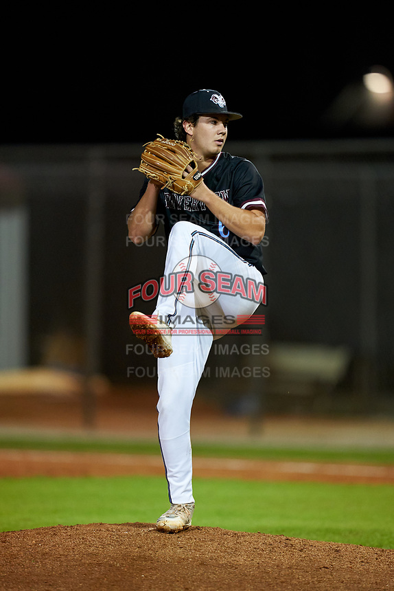 Riverview Rams pitcher Karson Ligon (6) during a game against the Sarasota Sailors on February 19, 2021 at Rams Baseball Complex in Sarasota, Florida. (Mike Janes/Four Seam Images)