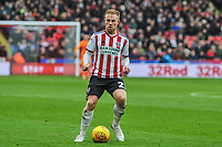 Sheffield United's midfielder Mark Duffy (21) during the Sky Bet Championship match between Sheff United and Leeds United at Bramall Lane, Sheffield, England on 1 December 2018. Photo by Stephen Buckley / PRiME Media Images.