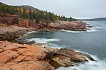 View of Monument Cove on cloudy autumn morning in Acadia National Park, Maine, USA