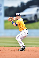 Beer City Tourists second baseman Max George (3) throws to first during a game against the Lakewood BlueClaws at McCormick Field on June 1, 2017 in Asheville, North Carolina. The Tourists defeated the BlueClaws 8-5. (Tony Farlow/Four Seam Images)