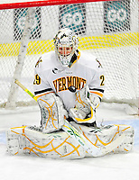 9 January 2011: University of Vermont Catamount goaltender Rob Madore, a Junior from Pittsburgh, PA, in action against the Boston University Terriers at Gutterson Fieldhouse in Burlington, Vermont. The Catamounts fell to the Terriers 4-2 in Hockey East play. Mandatory Credit: Ed Wolfstein Photo