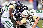 TCU Horned Frogs offensive tackle Austin Myers (56)) in action during the game between the Baylor Bears and the TCU Horned Frogs at the Amon G. Carter Stadium in Fort Worth, Texas.