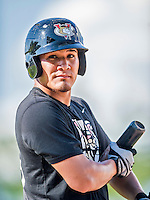 20 August 2015: Tri-City ValleyCats catcher Marlon Avea awaits his turn in the batting cage prior to a game against the Vermont Lake Monsters at Centennial Field in Burlington, Vermont. The Stedler Division-leading ValleyCats defeated the Lake Monsters 5-2 in NY Penn League action. Mandatory Credit: Ed Wolfstein Photo *** RAW Image File Available ****