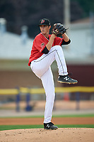Batavia Muckdogs starting pitcher Easton Lucas (28) during a NY-Penn League game against the Lowell Spinners on July 11, 2019 at Dwyer Stadium in Batavia, New York.  Batavia defeated Lowell 5-2.  (Mike Janes/Four Seam Images)