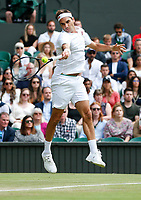 1st July 2021; Wimbledon, SW London. England; Wimbledon Tennis Championships, day 4;  Roger Federer of Switzerland competes during the mens singles second round match