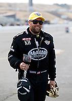 Jul. 28, 2013; Sonoma, CA, USA: NHRA top fuel dragster driver Shawn Langdon celebrates after winning the Sonoma Nationals at Sonoma Raceway. Mandatory Credit: Mark J. Rebilas-