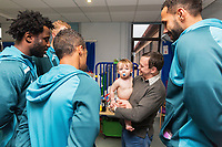 Thursday 21 December 2017<br /> Pictured: Wilfried Bony, Sam Clucas, Wayne Routledge and Kyle Bartley of Swansea City<br /> Re: Swansea City Childrens Ward Visit, Morriston Hospital, Swansea, Wales, UK