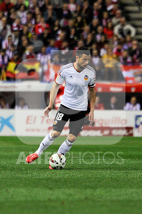 Valencia CF´s Javier Fuego during 2014-15 La Liga match between Atletico de Madrid and Valencia CF at Vicente Calderon stadium in Madrid, Spain. March 08, 2015. (ALTERPHOTOS/Luis Fernandez)