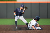 Wilmington Blue Rocks shortstop Nicky Lopez (7) can't field the throw cleanly as Myles Straw (3) of the Buies Creek Astros steals second base at Jim Perry Stadium on April 29, 2017 in Buies Creek, North Carolina.  The Astros defeated the Blue Rocks 3-0.  (Brian Westerholt/Four Seam Images)
