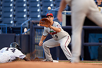 Fort Myers Miracle first baseman Trey Vavra (9) waits to receive a throw on a pick off attempt during a game against the Tampa Yankees on April 12, 2017 at George M. Steinbrenner Field in Tampa, Florida.  Tampa defeated Fort Myers 3-2.  (Mike Janes/Four Seam Images)