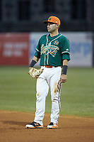 Greensboro Grasshoppers first baseman Eric Gutierrez (12) on defense against the Augusta GreenJackets at First National Bank Field on April 10, 2018 in Greensboro, North Carolina.  The GreenJackets defeated the Grasshoppers 5-0.  (Brian Westerholt/Four Seam Images)