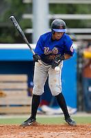Kingsport third baseman Jose Jimenez (25) reacts after taking a fastball off his left thigh versus Burlington at Burlington Athletic Park in Burlington, NC, Monday, July 30, 2007.