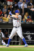 Toronto Blue Jays third baseman Danny Valencia (15) at bat during a game against the Chicago White Sox on August 15, 2014 at U.S. Cellular Field in Chicago, Illinois.  Chicago defeated Toronto 11-5.  (Mike Janes/Four Seam Images)
