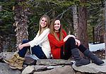 Girlfriends having fun outdoors, Mammoth Lakes, California
